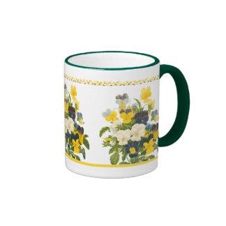 Violet Pansy Botanical Floral Art Coffee Mug