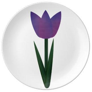 Violet Patchwork Tulip Large Porcelain Plate Porcelain Plates
