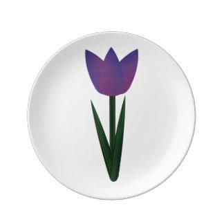 Violet Patchwork Tulip Small Porcelain Plate Porcelain Plate