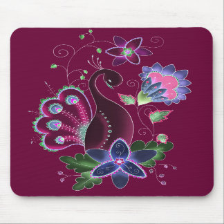 Violet Peacock Mouse Pad