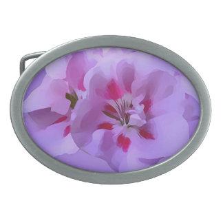 Violet Pink Abstract Hibiscus Flower Belt Buckles