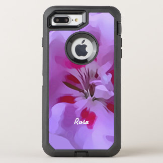 Violet Pink Abstract Hibiscus Flower Personalized OtterBox Defender iPhone 7 Plus Case