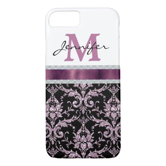 Violet Pink Damask Faux Diamond Monogram iPhone 7 Case