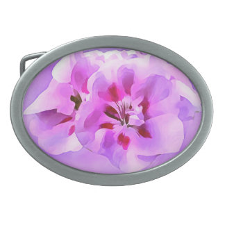 Violet Pink Watercolor Hibiscus Oval Belt Buckle