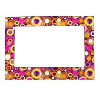 Violet Polka Dot Pattern Picture Frame Magnet