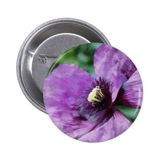 Violet Poppy 6 Cm Round Badge