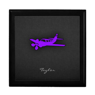 Violet Purple Airplane Large Square Gift Box