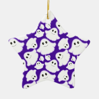 Violet Purple and White Halloween Ghost; Ghosts Christmas Ornament