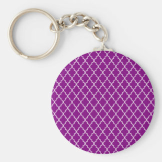 Violet Purple And White Moroccan Trellis Pattern Basic Round Button Key Ring