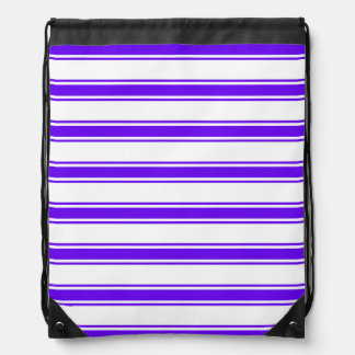 Violet Purple and White Stripes; Striped Backpack