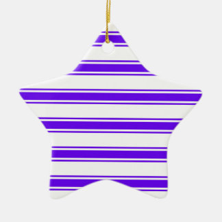 Violet Purple and White Stripes; Striped Ceramic Star Decoration