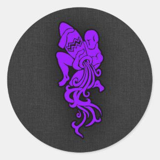Violet Purple Aquarius Round Sticker