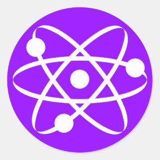 Violet Purple Atom Classic Round Sticker