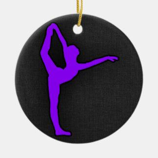 Violet Purple Ballet Dancer Double-Sided Ceramic Round Christmas Ornament