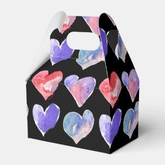 Violet Purple Black Hearts 5 Paper Box Favor Boxes
