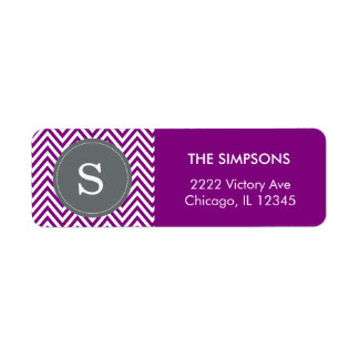 Violet Purple Chevron Custom Name Gray Monogram Return Address Label