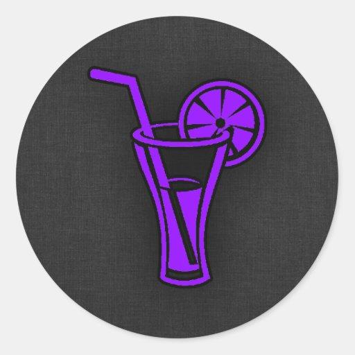 Violet Purple Cocktail Round Stickers