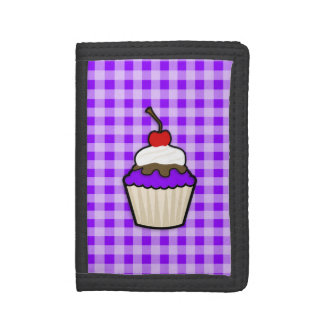 Violet Purple Cupcake Trifold Wallets