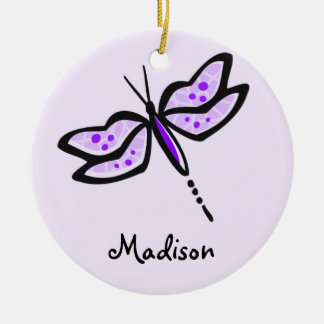 Violet Purple Dragonfly Christmas Ornament