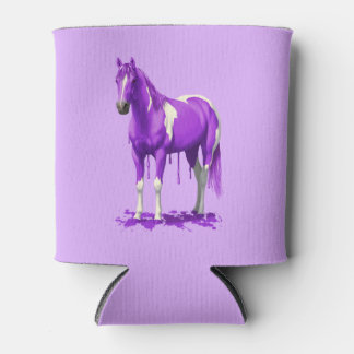 Violet Purple Dripping Wet Paint Horse Can Cooler