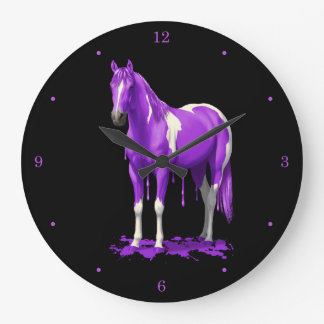 Violet Purple Dripping Wet Paint Horse Large Clock