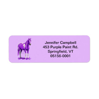 Violet Purple Dripping Wet Paint Horse Return Address Label