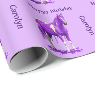 Violet Purple Dripping Wet Paint Horse Wrapping Paper