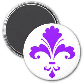 Violet Purple Fleur-de-lis 7.5 Cm Round Magnet