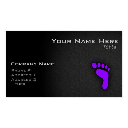 Violet Purple Footprint Business Card Templates