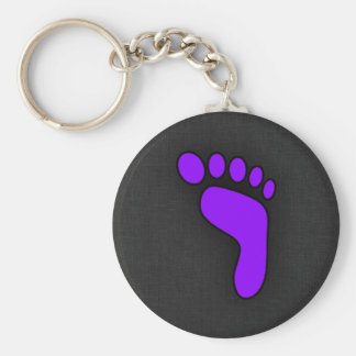 Violet Purple Footprint Basic Round Button Key Ring