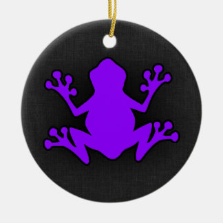 Violet Purple Frog Round Ceramic Decoration
