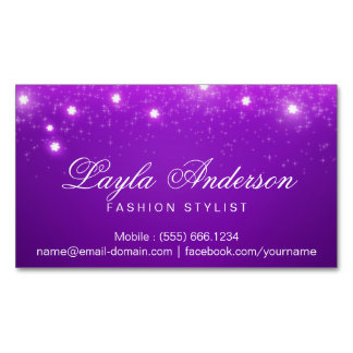 Violet Purple Glam Starry Sparkles Magnetic Business Cards