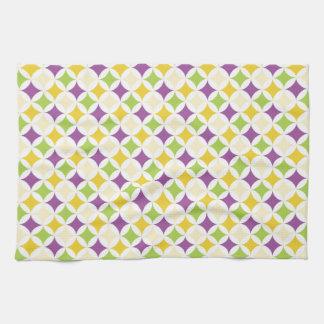 Violet Purple, Green, and Yellow Diamonds Tea Towel