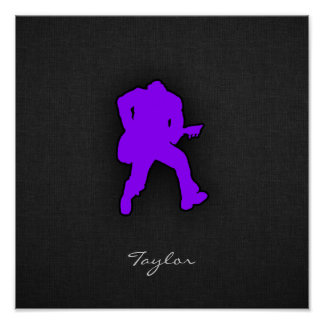Violet Purple Guitar Player Poster