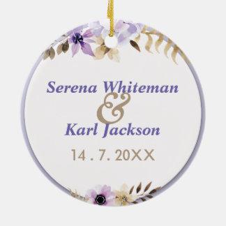 Violet Purple hand drawn floral frame Christmas Ornament