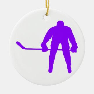 Violet Purple Ice Hockey Christmas Ornament