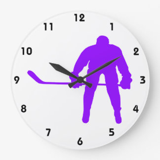 Violet Purple Ice Hockey Large Clock