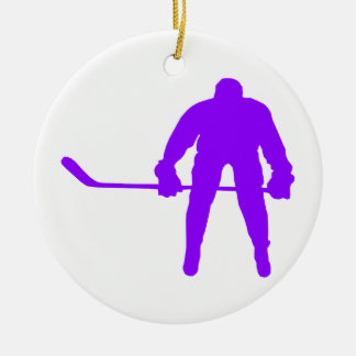 Violet Purple Ice Hockey Round Ceramic Decoration