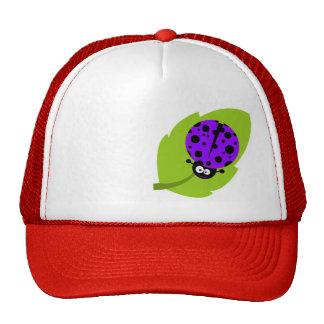 Violet Purple Ladybug Cap