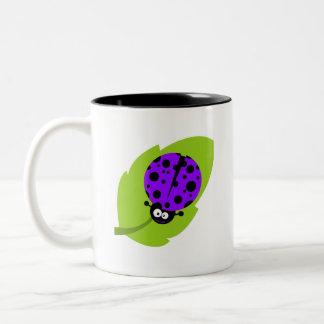 Violet Purple Ladybug Two-Tone Coffee Mug