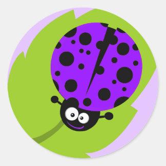 Violet Purple Ladybug Round Sticker