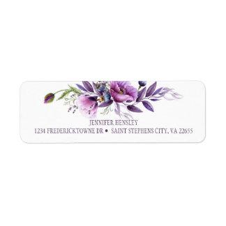 Violet Purple Lavender Wildflowers Return Address 