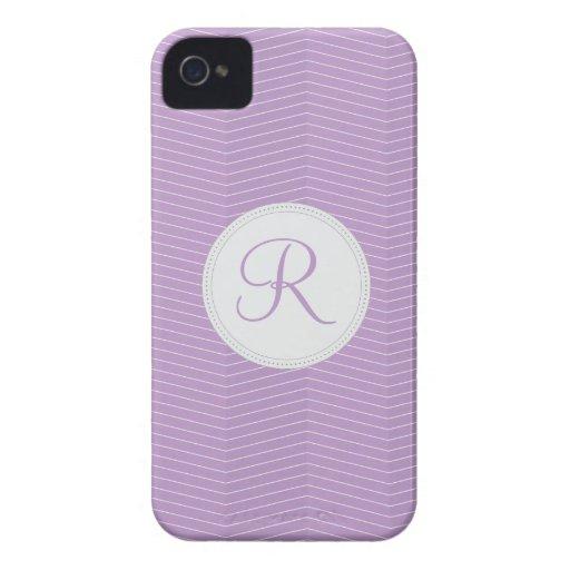 Violet Purple Monogram Thin Chevron Pattern Blackberry Bold Cases