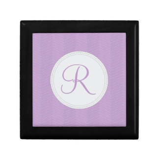 Violet Purple Monogram Thin Chevron Pattern Gift Box