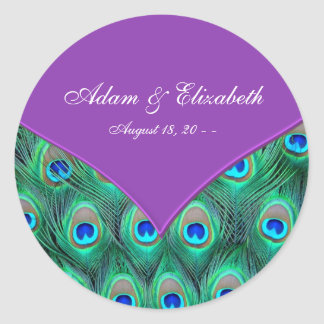 Violet Purple Peacock Wedding Classic Round Sticker