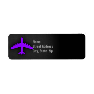 Violet Purple Plane; Pilot Return Address Label