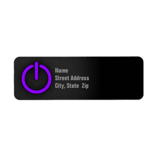 Violet Purple Power Button Return Address Label