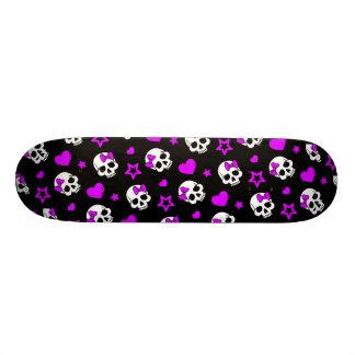 Violet Purple Punk Rock Skulls 18.1 Cm Old School Skateboard Deck