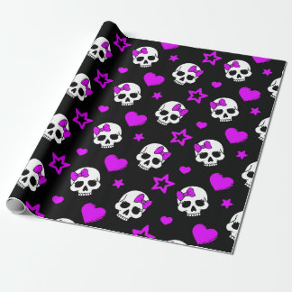 Violet Purple Punk Rock Skulls Wrapping Paper