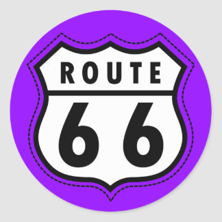 Violet Purple Route 66 Road Sign Stickers